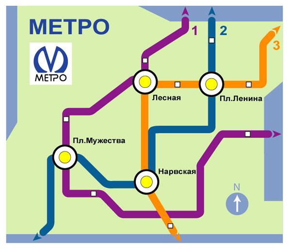 создать схему метро,